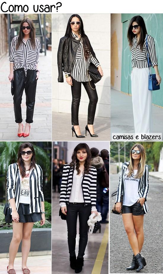 listras e preto e branco - camisas e blazers