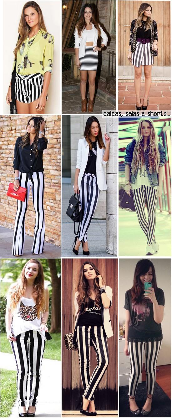 listras preto e branco - calcas saias e shorts